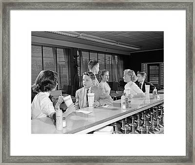 Teens At Soda Fountain, C.1950s Framed Print