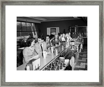 Teens At Soda Fountain Counter, C.1950s Framed Print