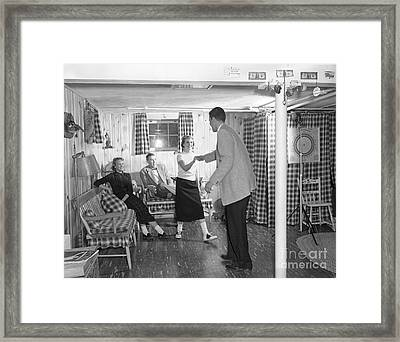 Teens Dancing In Rec Room, C.1950s Framed Print by H. Armstrong Roberts/ClassicStock