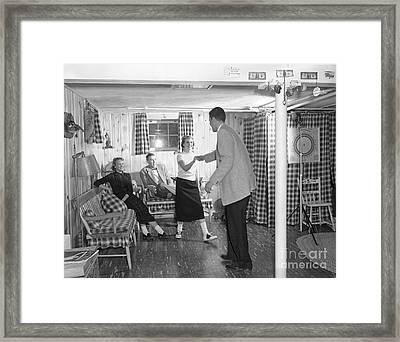 Teens Dancing In Rec Room, C.1950s Framed Print