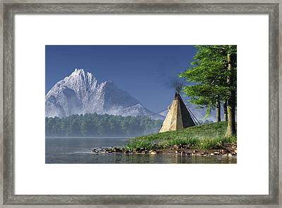 Teepee By A Lake Framed Print by Daniel Eskridge