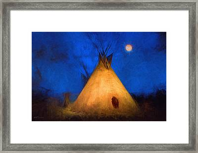 Teepee In Moonlight Framed Print