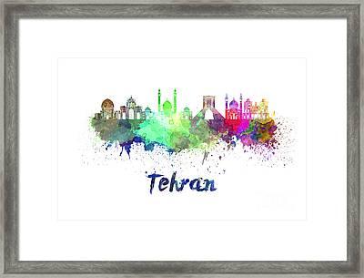 Tehran Skyline In Watercolor Framed Print by Pablo Romero