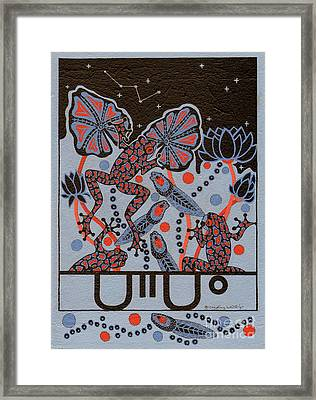 Framed Print featuring the painting Tehteu Little Green Frogs by Chholing Taha