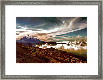 Teide Volcano - Rolling Sea Of Clouds At Sunset Framed Print by Menega Sabidussi