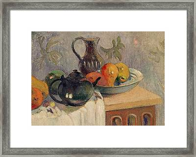 Teiera Brocca E Frutta Framed Print by Paul Gauguin