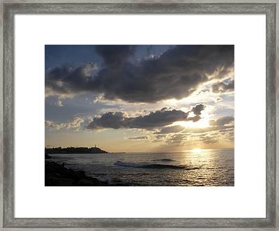 Tel Aviv Sunset At The Beach Framed Print by Yonatan Frimer Maze Artist