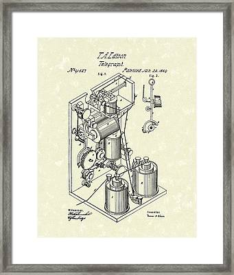 Telegraph 1869 Patent Art Framed Print by Prior Art Design