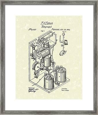 Telegraph 1869 Patent Art Framed Print by Prior Art Design
