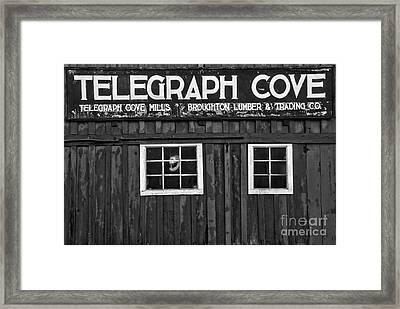 Telegraph Cove Black And White Framed Print by Adam Jewell
