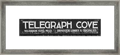 Telegraph Cove British Columbia Sign Black And White Framed Print by Adam Jewell