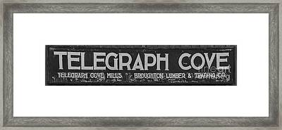 Telegraph Cove Sign Black And White Panorama Framed Print by Adam Jewell