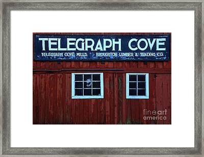 Telegraph Cove Wooden Sign Framed Print by Adam Jewell