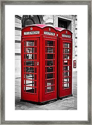 Telephone Boxes In London Framed Print by Elena Elisseeva