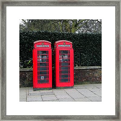 Telephone Boxes In London Framed Print by Peg Owens