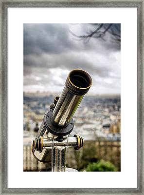 Telescope At The Sacre-coeur Viewpoint Framed Print by Pablo Lopez