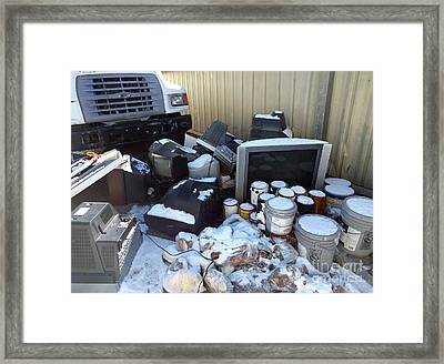 Televisions Paint Donated Potatoes  Framed Print by Steven Digman