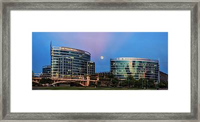 Framed Print featuring the photograph Tempe Town Lake Moon Rise by Dave Dilli