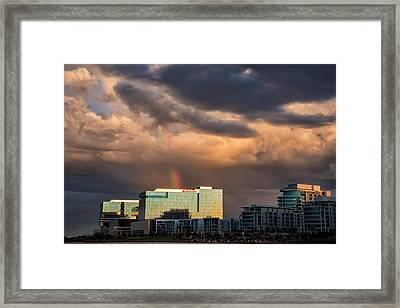 Framed Print featuring the photograph Tempe Town Lake Rainbow by Dave Dilli