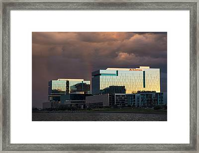Framed Print featuring the photograph Tempe Town Lake Skyline by Dave Dilli