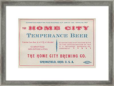 Temperance Beer Label Framed Print
