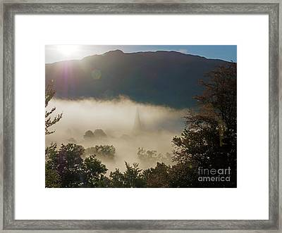 Temperature Inversion Traps Mist Over Ambleside Framed Print by Louise Heusinkveld