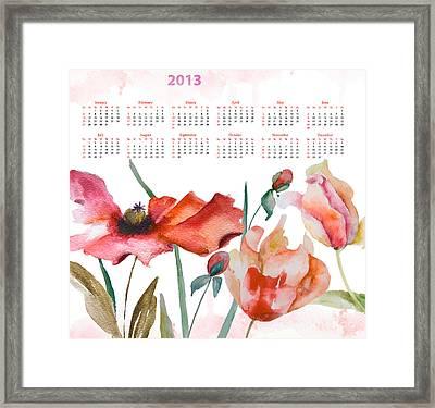 Template For Calendar 2013 Framed Print