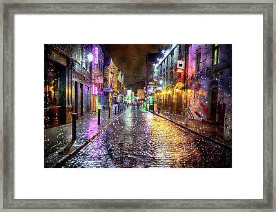 Temple Bar At Night - Dublin Framed Print by Janet Meehan