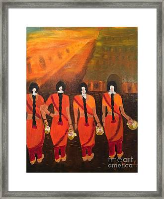 Temple Dancers Framed Print by Brindha Naveen