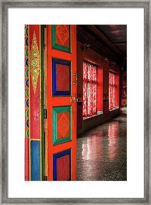 Framed Print featuring the photograph Temple Door by Alexey Stiop