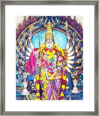 Hindu Temple Art Collection Framed Print by White Stork Gallery