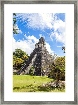 Temple I Of The Jaguar - Mayan Ruins Of Tikal - Guatemala Framed Print by Matteo Colombo