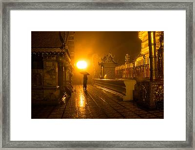 Temple In The Rain. Framed Print by Colleen Bessel