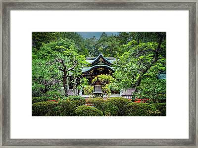Framed Print featuring the photograph Temple In The Rain by Rikk Flohr