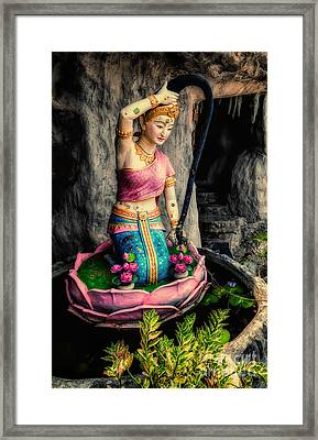 Temple Lady Statue Framed Print
