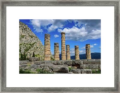 Temple Of Apollo At Delphi, Greece Framed Print
