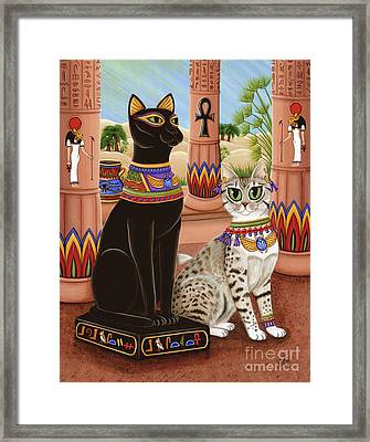 Temple Of Bastet - Bast Goddess Cat Framed Print