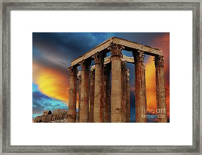Temple Of Olympian Zeus Framed Print by Bob Christopher
