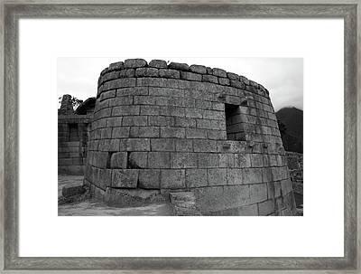 Temple Of The Sun, Machu Picchu, Peru Framed Print by Aidan Moran