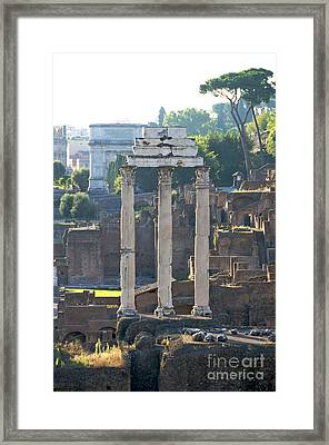 Temple Of Vesta Arch Of Titus. Temple Of Castor And Pollux. Forum Romanum Framed Print