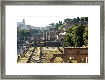 Temple Of Vesta. Arch Of Titus. Temple Of Castor And Pollux. Forum Romanum. Roman Forum. Rome Framed Print by Bernard Jaubert