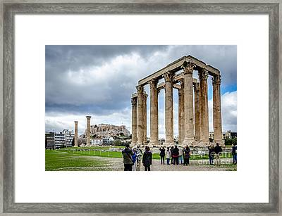 Temple Of Zeus And Acropolis - Athens Greece 2 Framed Print by Debra Martz