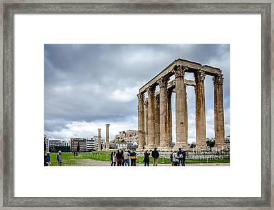 Temple Of Zeus And Acropolis - Athens Greece Framed Print by Debra Martz