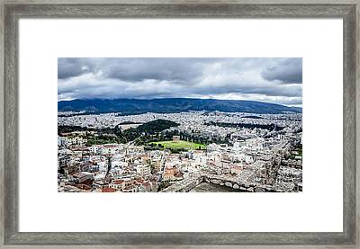 Temple Of Zeus - View From The Acropolis Framed Print by Debra Martz