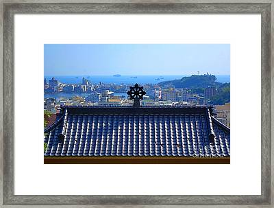 Temple Roof And Kaohsiung Port Framed Print by Yali Shi
