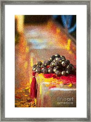 Temple Rudraksha Beads Framed Print by Tim Gainey