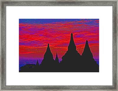 Temple Silhouettes Framed Print by Dennis Cox