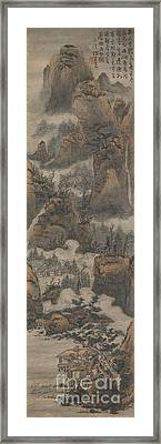 Temples Among Autumn Mountains Framed Print