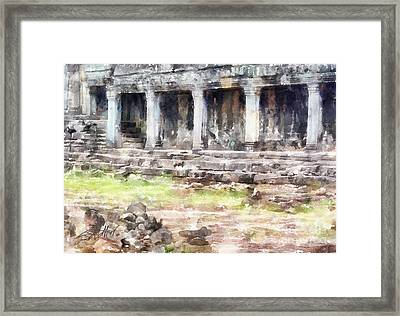 Temples At Angkor Framed Print by Shirley Stalter
