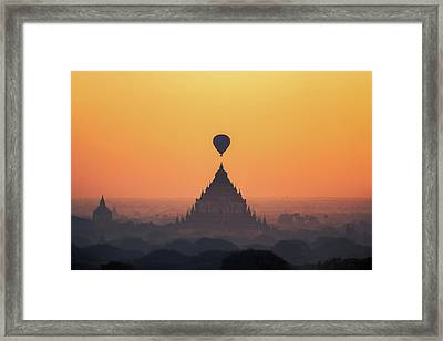 temples in Bagan with hot air balloon for traval on sun rise and Framed Print by Anek Suwannaphoom